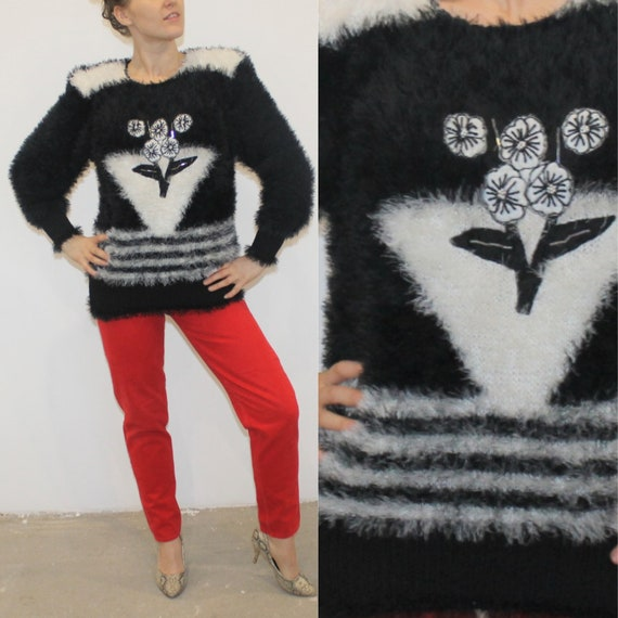 Hairy sweater Vintage Black pullover hairy gray 90s oversized XLXXL