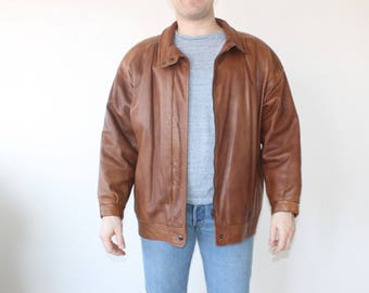 Leather Bomber Jacket Made in Sweden Brown Leather Jacket Cropped Short Coat Motorcycle Hipster BOMBER Flight Aviator Distressed