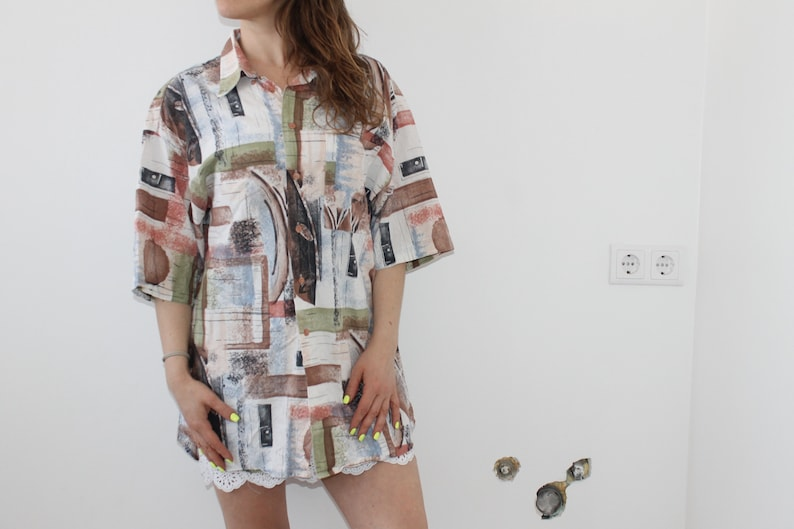 XL Line Cotton Viscose 90s Oversize Shirt Abstract Button Down Man Womens Large Colorful Blouse Patterned Psychedelic Print Men/'s Abstract