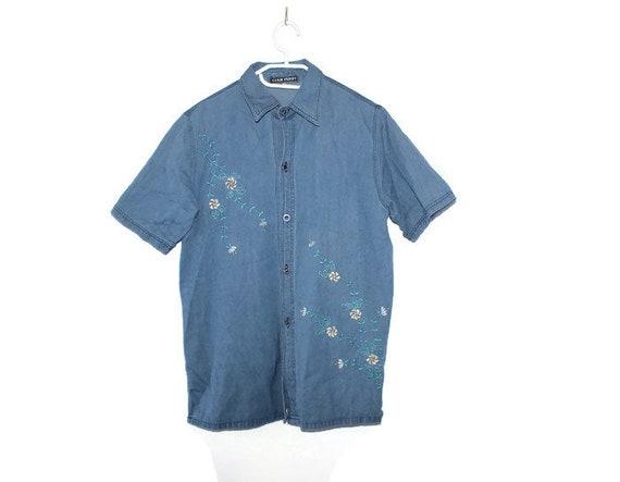 Vintage 90s Denim Shirt Oversize Jean Shirt Womens M L Shirt Top Mens S Denim Button Up Embroidered Short Sleeve Top Alpine Shirt L Medium