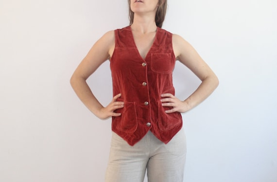Large Burgundy Velvet Vest Dark Red 80s Vintage Co
