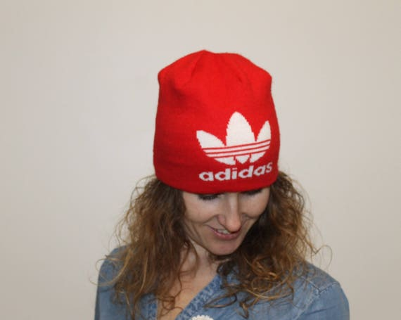 Red ADIDAS 3 Stripes Vintage 70s Knit Winter Beanie Ski Hat  db8e6c75ba6