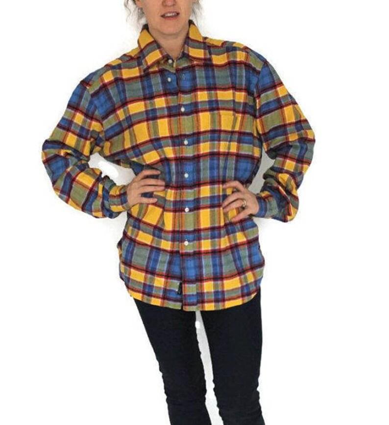 Yellow Blue Tartan Plaid Lumberjack Shirt 70s Thick Flannel Etsy