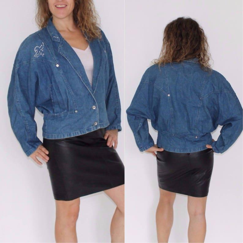 c1a833e50c15f 80s Denim Jacket Baggy Jean Blazer Faded Coat Vintage Jean Oversized Well  Worn Grunge Biker Blue Button Up Hipster Coat Cropped Jean Medium
