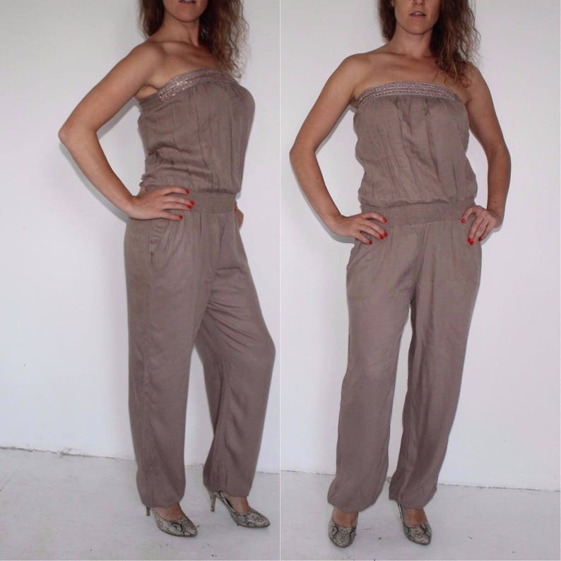 a7f4caaea Vintage Brown Jumpsuit Women s Cotton Romper Playsuit One