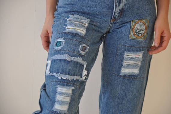 Vintage 80s Tapered Mom Jeans Blue Wash Faded High Waisted Denim Pants W26 L27 Peg Leg High Rise Waist Jeans Baggy Stretch Fit Jeans