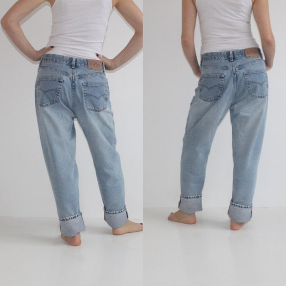 Vintage 80s Acid Wash Jeans High Waist Denim Jeans Women Peg Leg Trousers High Waisted Jeans Hipster Grunge Tapered Pants Leg Large W33 L29