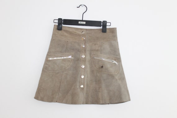 Mini XS Small High Waist Vintage Suede Skirt Beige