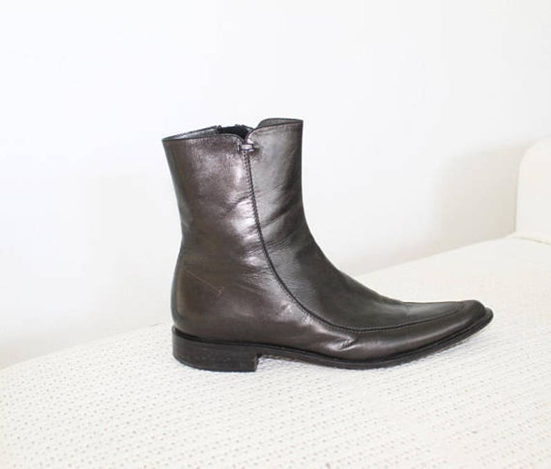 Lather US10 UK8 Eur40 5 Black Ankle Boots Western Boots Genuine Leather Boots Womens Mans Boots Pointed Toe Boots Made in Italy EUR 40.5