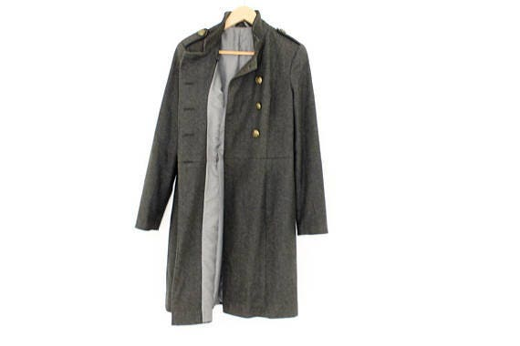 Military Coat Long Double Breasted Lined Coat Army Style Brass Buttons  Classic gray women fall cocoon coat Long Grey Coat Military Style