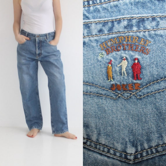 buy cheap best loved store 80s Baggy Jeans Light Wash High Waisted Mom Jeans Tapered Mom W34 W33 Loose  Fit Denim Pants Womens Light Blue High Waist Rise Large Worn In