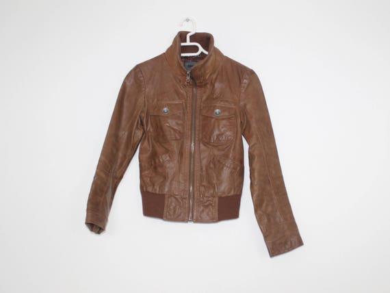 Leather BOYFRIEND Leather Bomber Jacket 80s Black Vintage Crop Motorcycle Biker Coat Short Moto Unisex Blazer 1980s Women Hipster Large