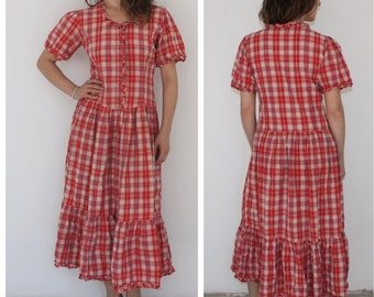 Vintage Dress Gingham Plaid Dress Checkered Red White Summer Long Maxi Dress Western Country Cowgirl Prairie Large Ruffles Pleated Over Knee