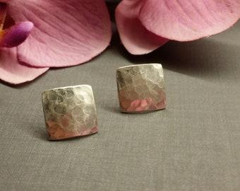 Big hammered silver stud earrings 925 silver