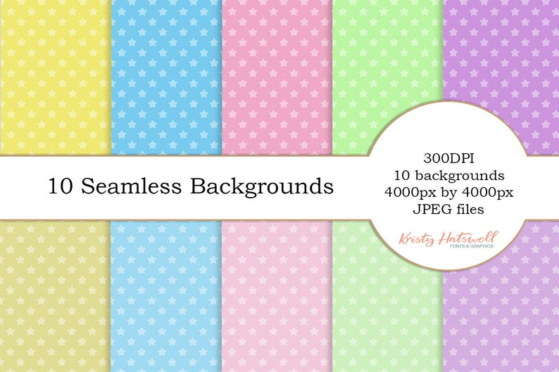 10 Seamless Star Backgrounds digital paper seamless image 0