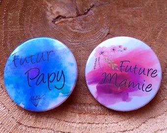 "Two badges ""future Grandma and Grandpa future"""