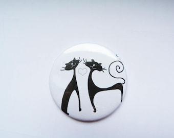 """Duo of cat black & White"" Pocket mirror"
