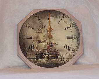 Sailing Ship Wall Clock - Decoupage wall clock - Wooden wall clock