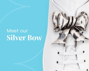 Schleife, Silber Grau - Silver Bow - Sneaker Brosche. Brooch for shoes.