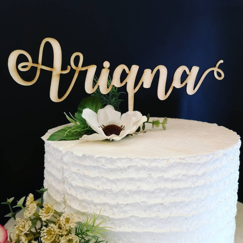 Name Cake Topper For Birthday Decoration Wood