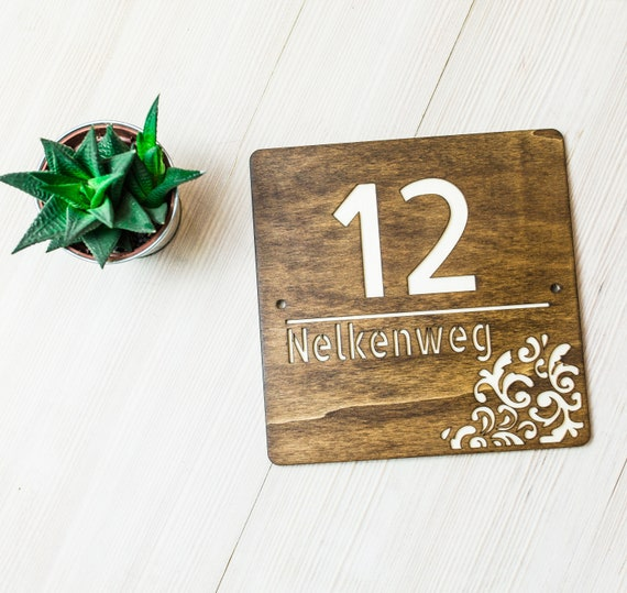 Square Shape Address Number Plaque Wooden House Number Sign Modern House Decor First Home Christmas Gift Housewarming In Gift Idea