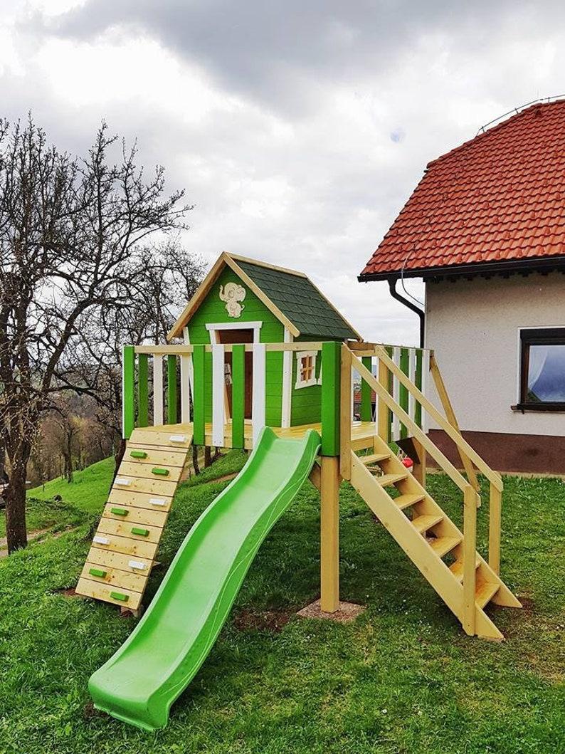Playhouse Outdoor Kids Wood Playhouse Montessori Toddler Etsy