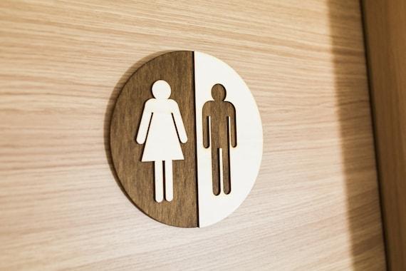 Wooden Bathroom And Toilet Door Signs Rustic Bathroom Home Decor Wc Sign Restroom Toilet Plaque