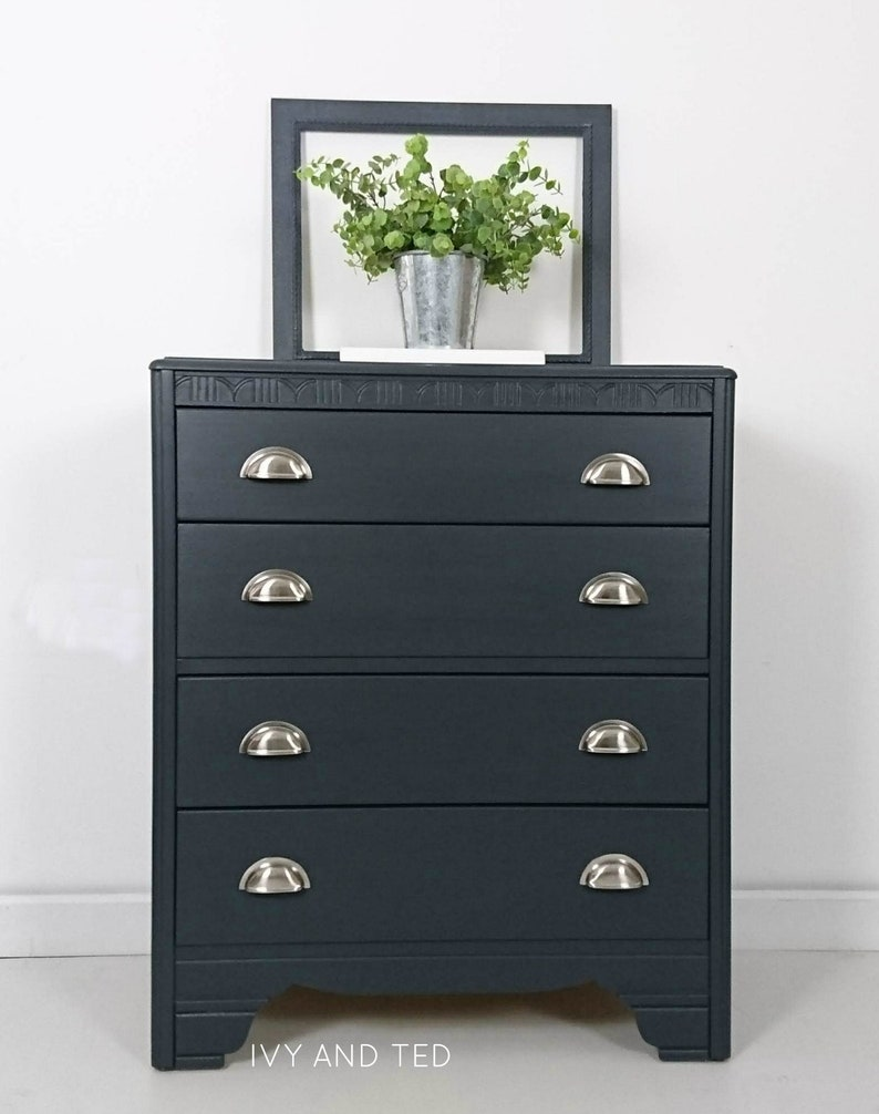 buy popular cff28 35c67 Lebus Chest Of Drawers, Chest of Four Drawers, Hand Painted Chest Of  Drawers, Upcycled Furniture, Blue Drawers