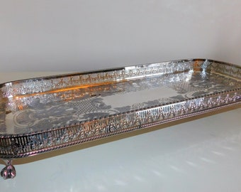 Vintage Silver Plate Tray, Viners Silver Plate Chased Tray, Ball Feet Display Tray, Table Tray, Sideboard Tray, Victorian Downton Abbey