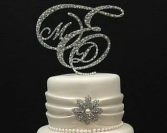 Pearl Monogram Cake Topper, Monogram Cake Topper, Rhinestone Cake Topper, Crystal Monogram Topper, Initial Cake Topper