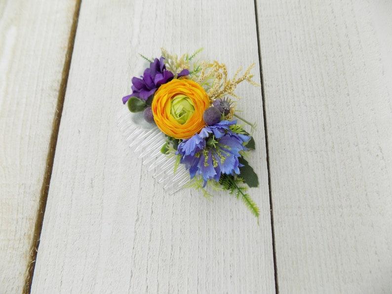 Autumn Fall Winter hair comb hair accessories headpiece rustic wedding gift for women her yellow blue purple boho flower bridal hair comb
