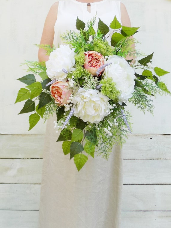 Bouquet Da Sposa A Cascata.Jordan Boho Cascata Bouquet Da Sposa Peony Scuro Rosa Avorio Etsy