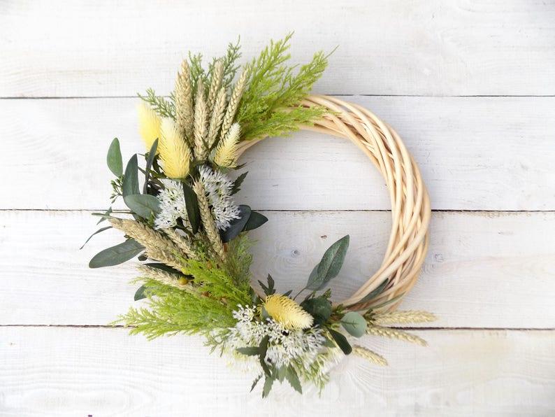 Rustic door wreath wheat wreath home decor artificial flowers fall autumn winter decorations cream green greenery eucalyptus door wreath