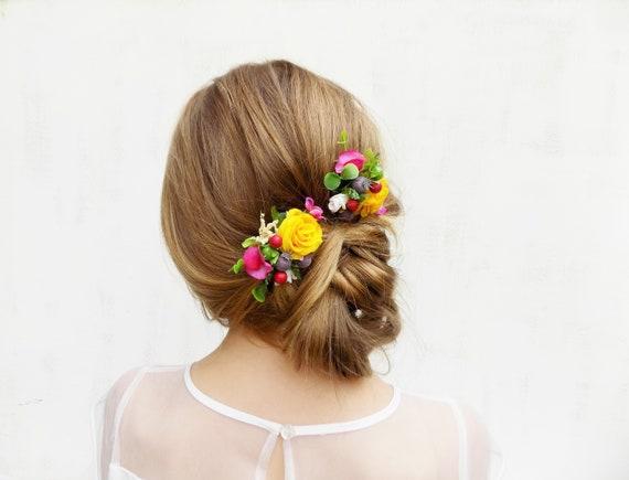 Bridal hair comb hair clip Spring Summer wedding boho rustic headpiece gift for her wildflower bridal hair accessories