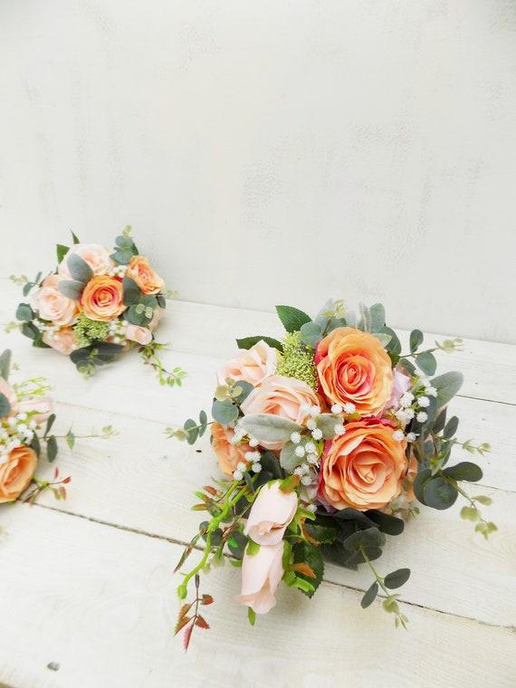 Erroten Pfirsich Hochzeitsblumen Paket Brautstrauss Etsy