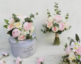 Rustic bridal bouquet bridesmaid posies set ivory cream blush pink peach peony artificial silk wedding flowers boho wedding package