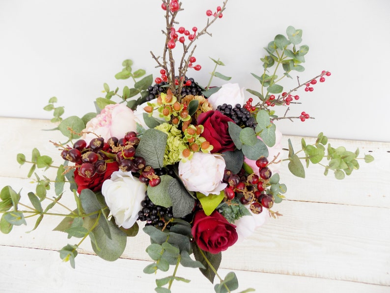 Boho bridal bouquet bridesmaid bouquet peony rose eucalyptus artificial silk flowers wedding set package blush burgundy cascade bouquet