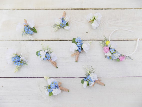 Wedding Buttonhole Forget Me Not Groom Groomsman Artificial Etsy