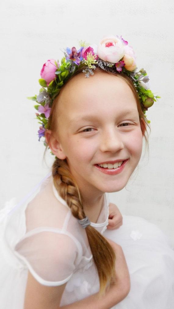 Bridal Flower Crown Headpiece Hair Accessories Girls Headband Floral Wreath Artificial Silk Flowers Boho Wedding Hair Piece Flower Crown