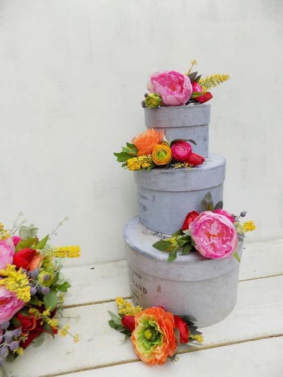 Wedding Flowers Cake Topper Wedding Cake Decoration Artificial Etsy