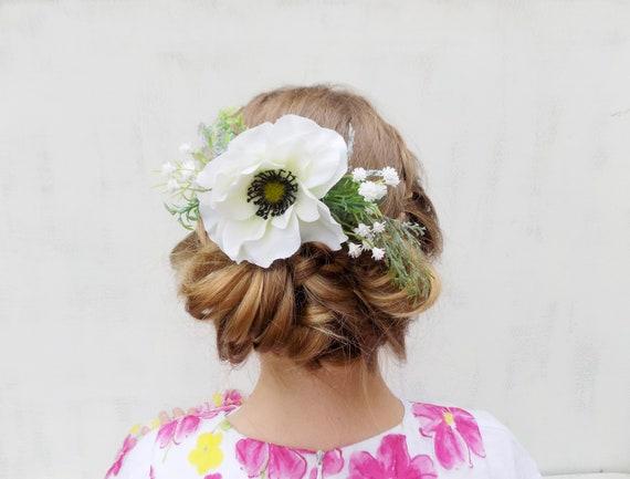 White Flower Hair Comb Bridal Hair Accessories Headpiece Etsy