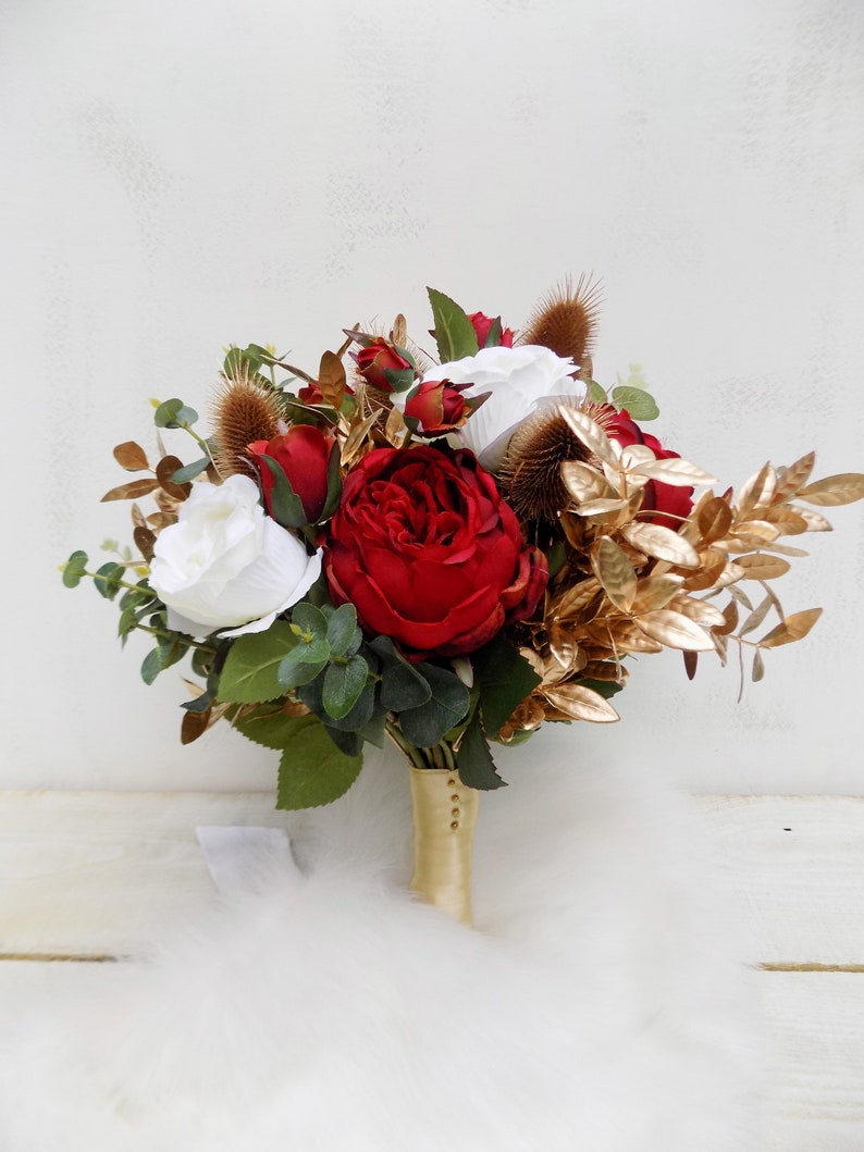 Winter Christmas Bridal Bouquet Red Gold Bridesmaid Bouquet Etsy