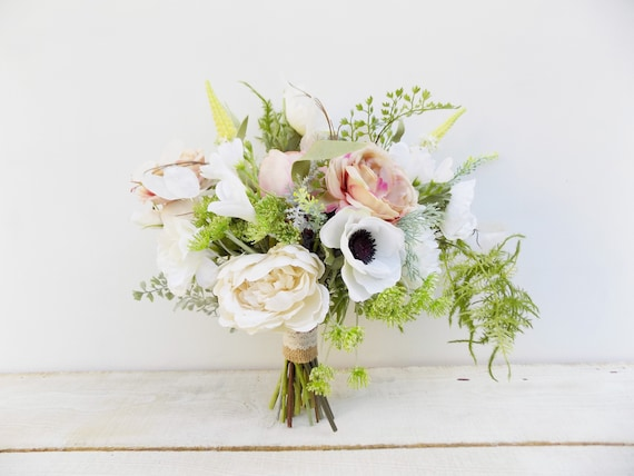 Boho blush bridal bouquet bridesmaid bouquet package silk wedding flowers white peach rustic cascade cascading bridal bouquet