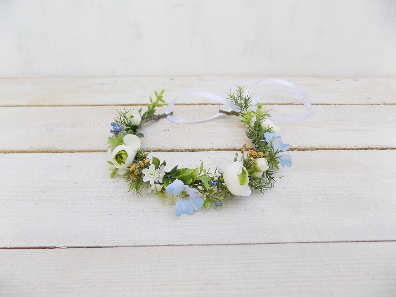 White Blue Flower Crown Summer Bridal Headpiece Floral Hair Etsy