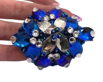 Rhinestone Hair Barrette | Royal Blue