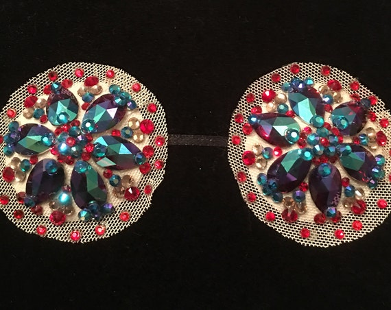 Fire and Ice Rhinestone Illusion Burlesque Pasties