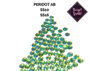 Peridot AB Rhinestones | Crystal Flatback | Non-hotfix | Sizes SS10 and SS16 | By the Gross