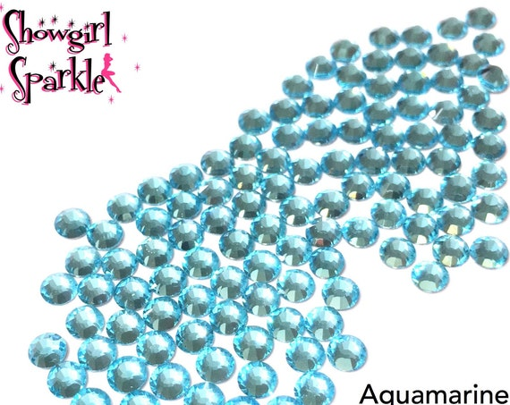 Aquamarine Flatback Glass Rhinestones, 1 gross (144 stones) Non-hotfix, in sizes SS10 and SS16