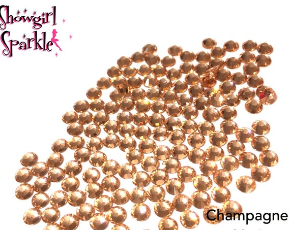 Champagne Flatback Glass Rhinestones, 1 gross (144 stones) Non-hotfix, in sizes SS10, SS16, SS20 or SS30