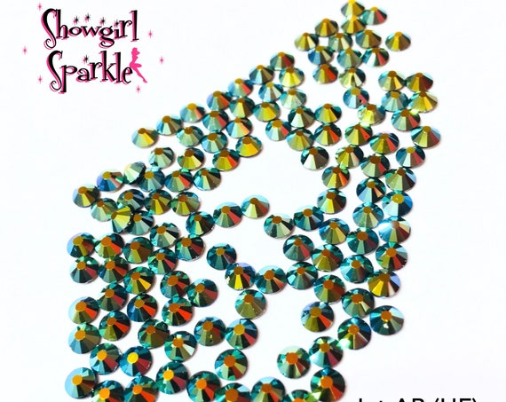 Jet AB Hot-Fix Flatback Glass Rhinestones, 1 gross (144 stones) in sizes SS10 and SS16